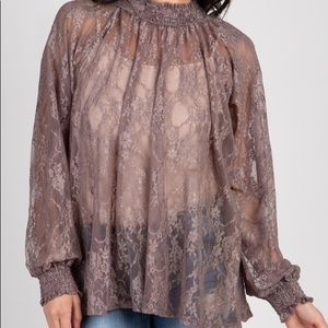 PinkBlush Mock Neck Blouse